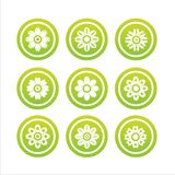 Set of 9 flower signs Stock Photos