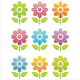 Set of 9 flowers icons Stock Photo