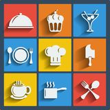 Set of 9 food web and mobile icons. Vector. Set of 9 food vector web and mobile icons in flat design. Symbols of cocktail, cake, toques, ice cream, spoon, fork stock illustration