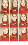 Set of 9 funny faces. Girl making some facial expressions: sorrow, joy, surprised and other. Use in your design Stock Photography