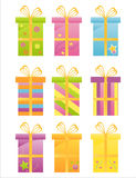 Set of 9 gifts icons Stock Images