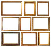 Set of 9 gold frames Royalty Free Stock Photography