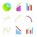 Set of 9 graph icon Royalty Free Stock Photos