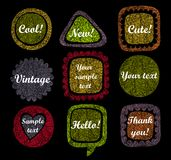 Set of 9 grunge speech bubbles and frames Royalty Free Stock Photography