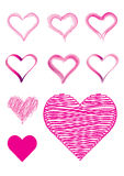 Set of 9 heart shapes in brush strokes Royalty Free Stock Photos