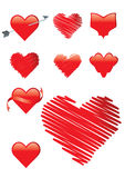 Set of 9 heart shapes in red Royalty Free Stock Photo