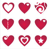 Set of 9 hearts icons Royalty Free Stock Photography