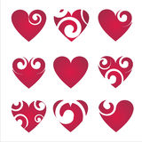Set of 9 hearts icons Stock Photography