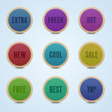 Set of 9 high detailed rounded stickers. Royalty Free Stock Photo