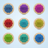 Set of 9 high detailed rounded stickers Stock Photo