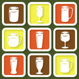 Set of 9 icons of beer glasses Royalty Free Stock Image