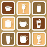 Set of 9 icons of coffee cups Stock Images
