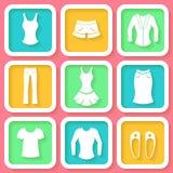 Set of 9 icons of female clothing Stock Image