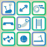 Set of 9 icons of the fintess equipment Stock Images