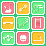 Set of 9  icons of the fintess equipment Royalty Free Stock Photo