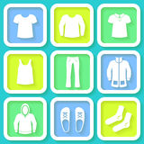 Set of 9 icons of men clothing Royalty Free Stock Image