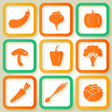 Set of 9 icons with vegetables Royalty Free Stock Photo