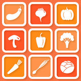 Set of 9 icons with vegetables Stock Photos