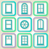Set of 9 icons of windows Stock Photography