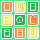 Set of 9 icons of windows Stock Images
