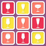 Set of 9 icons with wine glasses Royalty Free Stock Photography
