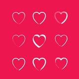 Set of 9 illustrations of love heart Royalty Free Stock Photography