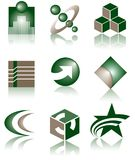 Set of 9 Logos. A set of 9 logos in green color isolated on a white background Stock Photo