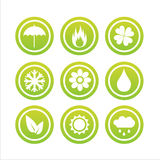 Set of 9 nature signs Royalty Free Stock Photo