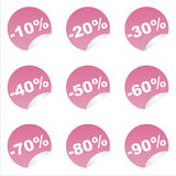 Set of 9 sale stickers Royalty Free Stock Photography
