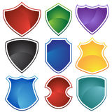 Set of 9 Shields Royalty Free Stock Photos