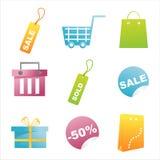 Set of 9 shopping icons Royalty Free Stock Photos