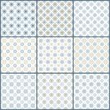 Set of 9 snowflakes pattern Stock Photos