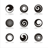 Set of 9 swirl icons Royalty Free Stock Images