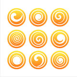 Set of 9 swirl signs. Set of 9 orange swirl signs Stock Image