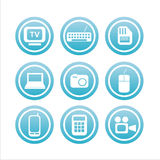 Set of 9 technology signs Stock Images