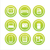Set of 9 technology signs Royalty Free Stock Photos