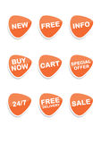 Set of 9 vector online shopping icons. Orange Royalty Free Stock Image