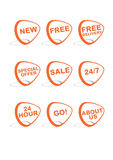 Set of 9 vector online shopping icons. Orange and grey vector illustration