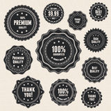 Set 9 vintage premium quality labels Stock Photography