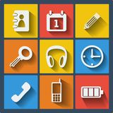 Set of 9 web and mobile icons. Vector. Royalty Free Stock Image