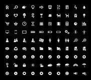 Set of 90 Web Icons. Set of ninety web icons with black background Stock Photo