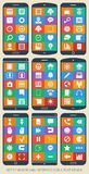 Set of 90 web and interface icons. Flat design. Stock Photos