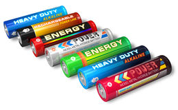Set of AA batteries Royalty Free Stock Images