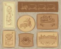 Set Abbildungen auf dem Kaffeethema Stockbilder