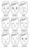 Set Abbildungen, die verschiedene Gefühle ausdrücken Stockfoto