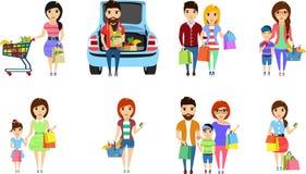 Set Abbildungen Junge Leute kaufen Einkauf am Supermarkt Nahrung Getrennt auf weißem Hintergrund Glückliches peo Stockbild