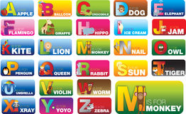 Set of abc alphabet cards for learning new sounds and words Stock Image