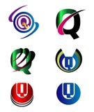 Set abecadło symbole I elementy list Q, taki logo ilustracji