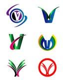 Set abecadło symbole I elementy list V, taki logo ilustracja wektor