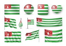 Set Abkhazia flags, banners, banners, symbols, relistic icon. Vector illustration of collection of national symbols on various objects and state signs Stock Images